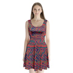 Red and green abstract art Split Back Mini Dress