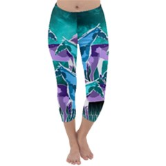 Horses under a galaxy Capri Winter Leggings