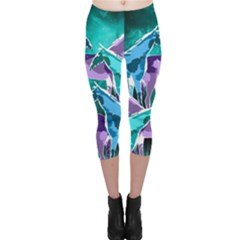 Horses under a galaxy Capri Leggings
