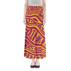 Orange abstract art Maxi Skirts