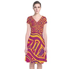 Orange Abstract Art Short Sleeve Front Wrap Dress
