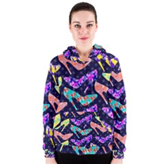 Colorful High Heels Pattern Women s Zipper Hoodie