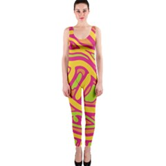 Orange hot abstract art OnePiece Catsuit