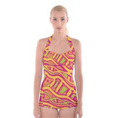 Orange Hot Abstract Art Boyleg Halter Swimsuit