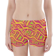 Orange Hot Abstract Art Boyleg Bikini Wrap Bottoms