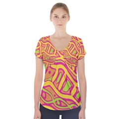 Orange hot abstract art Short Sleeve Front Detail Top