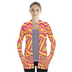 Orange hot abstract art Women s Open Front Pockets Cardigan(P194)