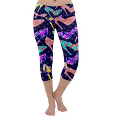 Colorful High Heels Pattern Capri Yoga Leggings