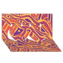 Orange decorative abstract art Twin Hearts 3D Greeting Card (8x4)