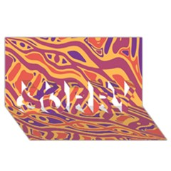 Orange decorative abstract art SORRY 3D Greeting Card (8x4)