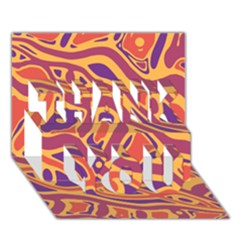 Orange decorative abstract art THANK YOU 3D Greeting Card (7x5)