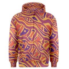 Orange decorative abstract art Men s Zipper Hoodie