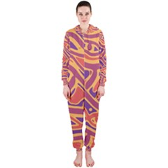 Orange decorative abstract art Hooded Jumpsuit (Ladies)