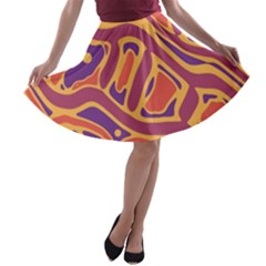 Orange decorative abstract art A-line Skater Skirt