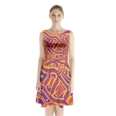 Orange decorative abstract art Sleeveless Waist Tie Dress