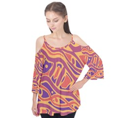 Orange Decorative Abstract Art Flutter Tees