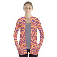 Orange decorative abstract art Women s Open Front Pockets Cardigan(P194)