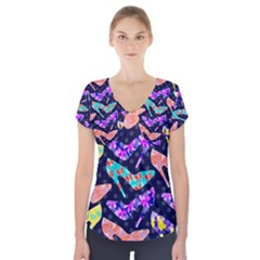 Colorful High Heels Pattern Short Sleeve Front Detail Top