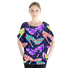 Colorful High Heels Pattern Batwing Chiffon Blouse