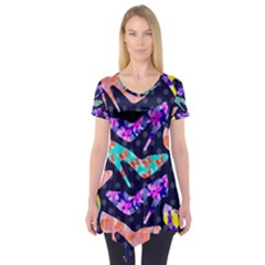 Colorful High Heels Pattern Short Sleeve Tunic