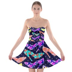 Colorful High Heels Pattern Strapless Bra Top Dress