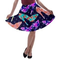 Colorful High Heels Pattern A Line Skater Skirt