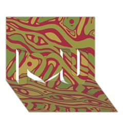 Brown Abstract Art I Love You 3d Greeting Card (7x5)