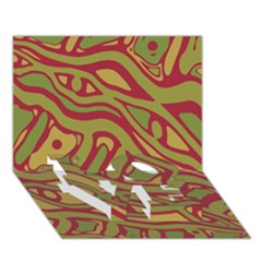 Brown abstract art LOVE Bottom 3D Greeting Card (7x5)