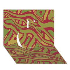 Brown abstract art Apple 3D Greeting Card (7x5)