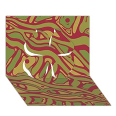 Brown abstract art Clover 3D Greeting Card (7x5)