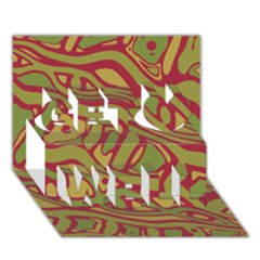 Brown abstract art Get Well 3D Greeting Card (7x5)
