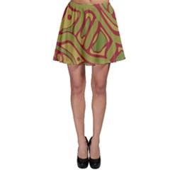 Brown abstract art Skater Skirt