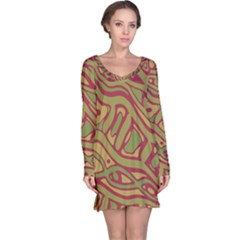 Brown abstract art Long Sleeve Nightdress