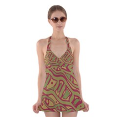 Brown Abstract Art Halter Swimsuit Dress