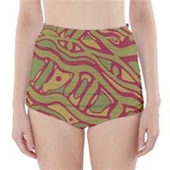 Brown abstract art High-Waisted Bikini Bottoms