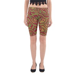 Brown abstract art Yoga Cropped Leggings