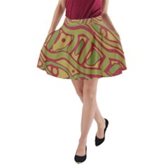 Brown abstract art A-Line Pocket Skirt