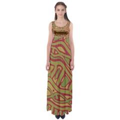 Brown abstract art Empire Waist Maxi Dress