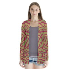 Brown Abstract Art Drape Collar Cardigan