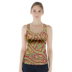 Brown abstract art Racer Back Sports Top