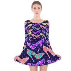 Colorful High Heels Pattern Long Sleeve Velvet Skater Dress