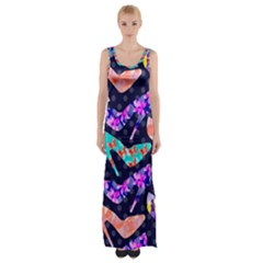 Colorful High Heels Pattern Maxi Thigh Split Dress