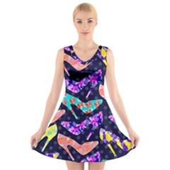 Colorful High Heels Pattern V Neck Sleeveless Dress