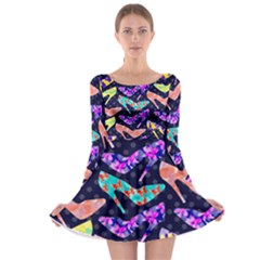 Colorful High Heels Pattern Long Sleeve Skater Dress