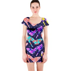 Colorful High Heels Pattern Short Sleeve Bodycon Dress
