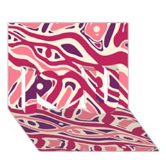 Pink and purple abstract art I Love You 3D Greeting Card (7x5)