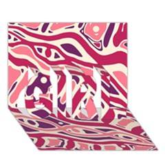 Pink and purple abstract art GIRL 3D Greeting Card (7x5)