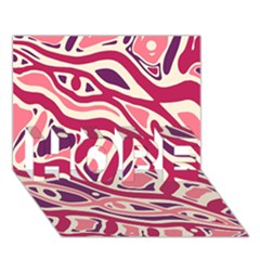 Pink and purple abstract art HOPE 3D Greeting Card (7x5)