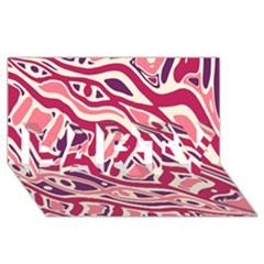 Pink and purple abstract art PARTY 3D Greeting Card (8x4)