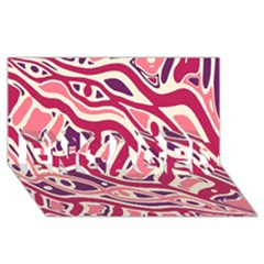 Pink and purple abstract art ENGAGED 3D Greeting Card (8x4)